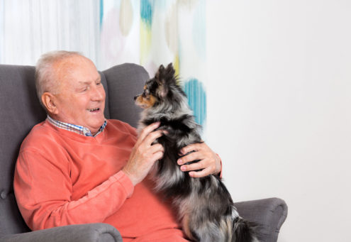 elderly man sitting with dog